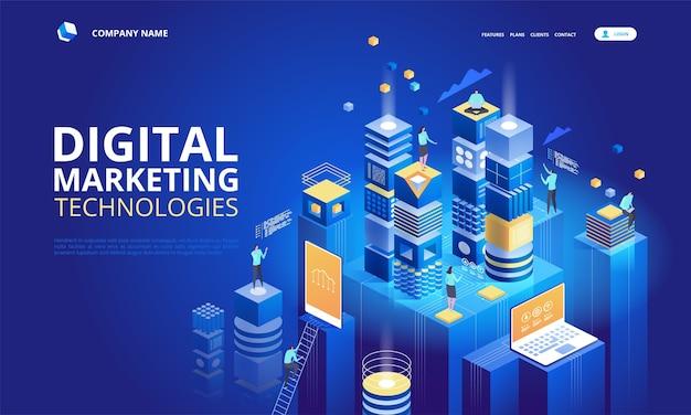 Equipo isométrico de especialistas que trabajan en la página de inicio de la estrategia de marketing digital.