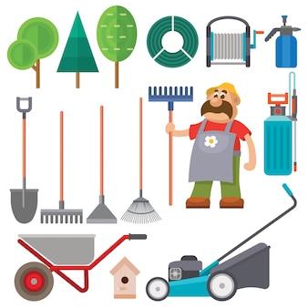 Equipo de jardín conjunto plano vector jardinero personaje ilustración agricultura agricultura herramientas