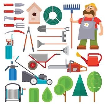 Equipo de jardín conjunto plano vector y personaje de jardinero con barba y rastrillo