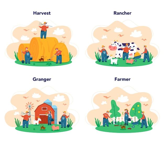 Equipo de jóvenes agricultores trabajando en la web sobre fondo blanco.