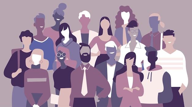 Equipo de jóvenes profesionales de éxito formado por hombres y mujeres