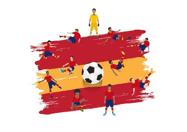 Equipo de jugador de fútbol de vector con fondo de bandera de españa