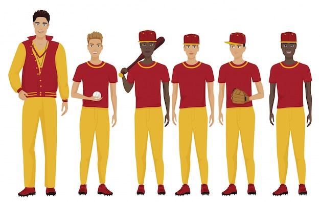 Equipo de jugadores de béisbol con entrenador.