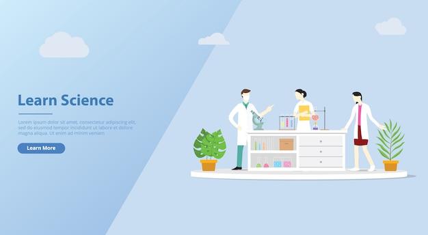 Equipo de laboratorio aprender ciencia para plantilla de banner de sitio web