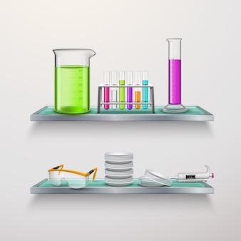Equipo de laboratorio en la composición de los estantes