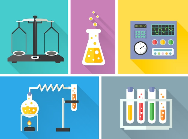 Equipo de laboratorio conjunto de elementos.
