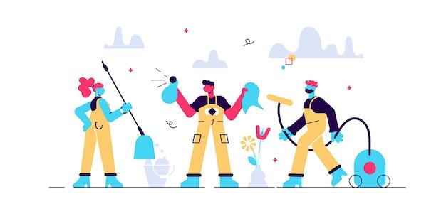 Equipo de limpieza como servicio de higiene profesional para personas pequeñas de negocios. lavado sanitario y conserje como profesión de trabajo e ilustración de ocupación. escena del proceso de limpieza de desinfección