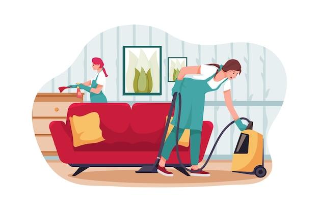Equipo de limpieza con herramientas profesionales ordenando la sala de estar