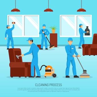 Equipo de limpieza industrial trabajo cartel plano