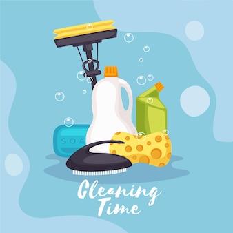 Equipo de limpieza de superficies ilustrado