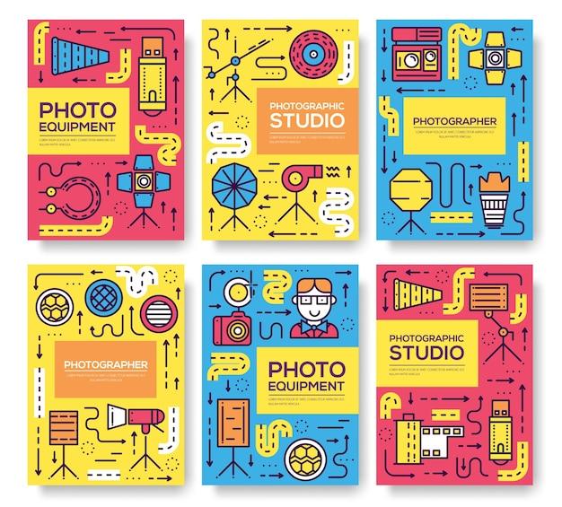 Equipo de línea delgada del conjunto de tarjetas de fotógrafo. plantilla de artículos de estudio fotográfico de libro, pancartas.