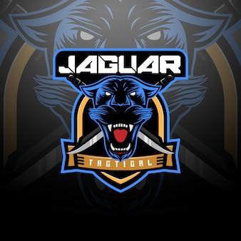 Equipo de logotipo táctico cabeza de jaguar