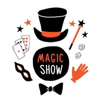 Equipo de mago, sombrero de copa, máscara, tarjetas, guante, varita mágica, corbatín.