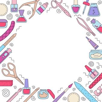 Equipo de manicura fondo redondo, línea de pulido de uñas, esmalte de uñas, lima, pinzas, crema de manos, tijeras, aceite, pinzas. herramientas de contorno de manicura elementos de diseño de belleza y concepto de spa