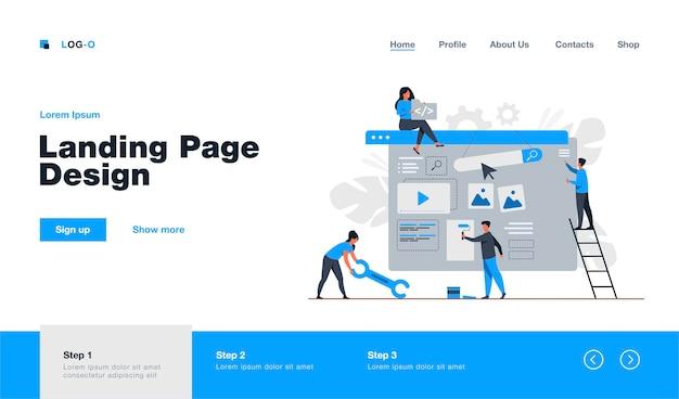 Equipo de marketing digital construyendo landing o página de inicio. personas diminutas pintando unidades en una página web. ilustración para diseñadores de sitios web, administradores de contenido, página de inicio del concepto de promoción de internet