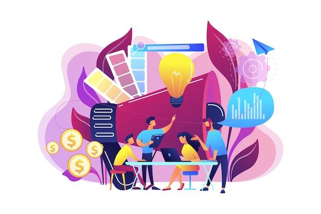 Equipo de marketing digital con portátiles y bombilla. métricas del equipo de marketing, concepto de liderazgo y responsabilidades del equipo de marketing