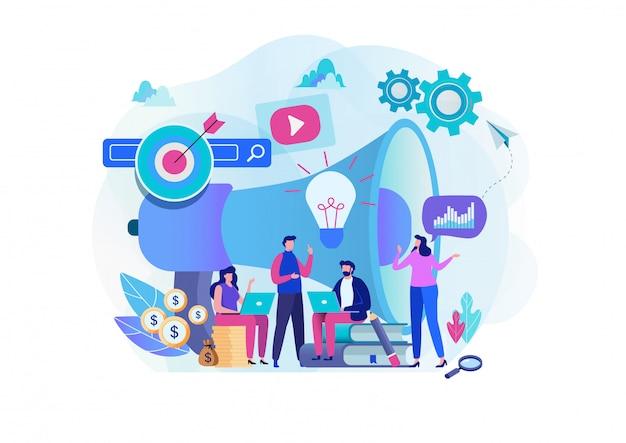 Equipo de marketing digital. Vector Premium
