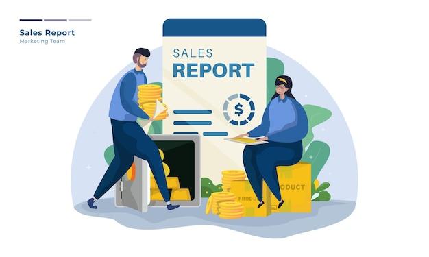 Equipo de marketing con ilustración de informe de ventas.