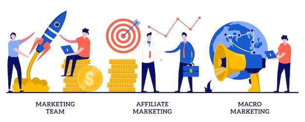 Equipo de marketing, marketing de afiliación, ilustración de macro marketing con gente pequeña