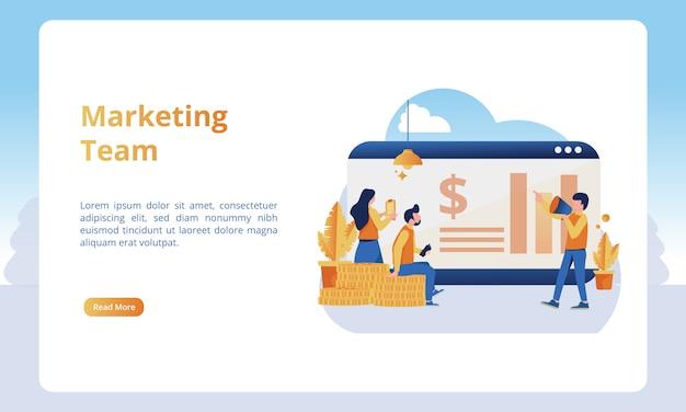 Equipo de marketing para páginas de inicio de negocios