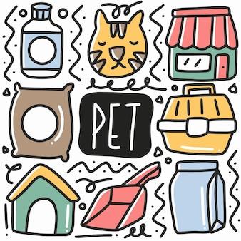 Equipo de mascotas dibujadas a mano doodle conjunto con iconos y elementos de diseño