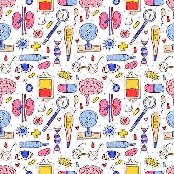 Equipo de medicina, órganos humanos, píldoras y elementos sanguíneos dibujados a mano de patrones sin fisuras