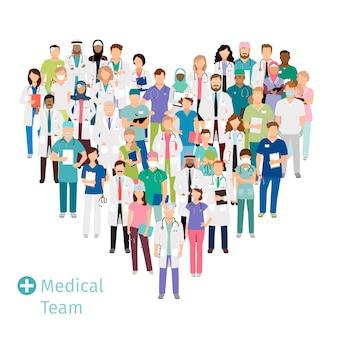 Equipo médico sanitario en forma de corazón. el personal hospitalario de profesionales de la salud agrupan en uniforme para sus conceptos. ilustración vectorial
