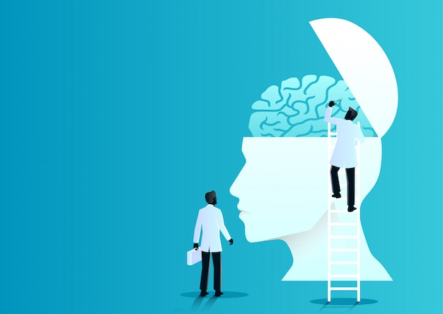 Equipo de médicos diagnostica cerebro humano