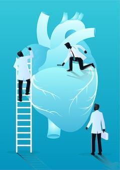 Equipo de médicos diagnostica corazón humano