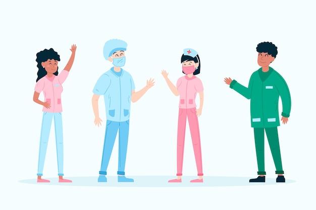 Equipo de médicos y enfermeras trabajando juntos.