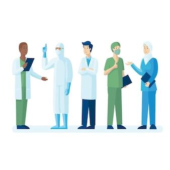 Equipo de médicos y enfermeras