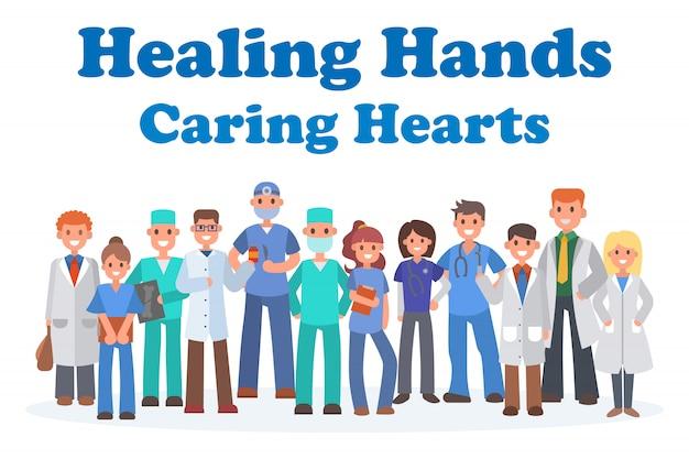 Equipo de médicos y otros trabajadores del hospital banner ilustración. profesionales de medicina y personal médico en uniforme médico, enfermera.