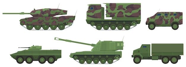 Equipo militar, tanque, artillería, camiones, vehículos blindados de transporte de personal