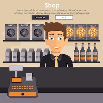 Equipo de mostrador de tienda de supermercado y empleado en uniforme