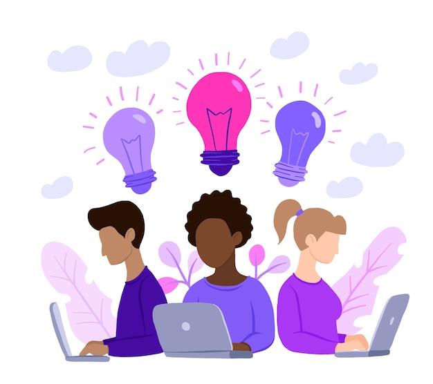 Equipo multinacional, asistente online en el trabajo.
