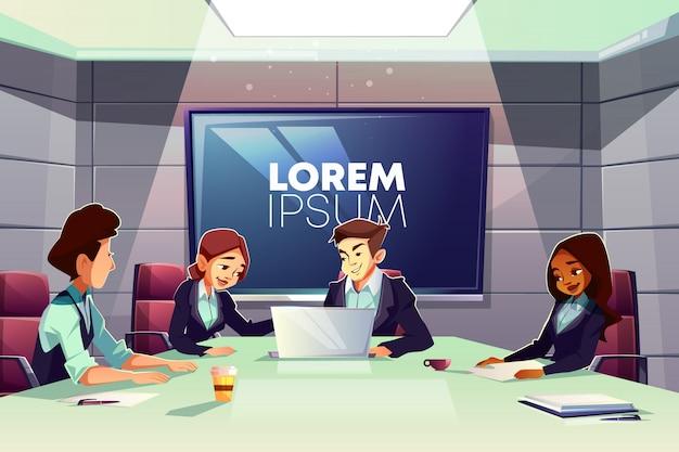 Equipo multinacional de gente de negocios trabajando juntos en dibujos animados de sala de reunión de oficina