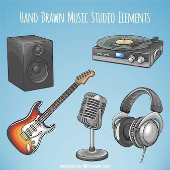 Equipo de música dibujado a mano con guitarra eléctrica