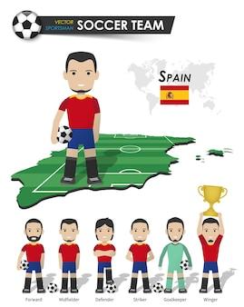 Equipo nacional de fútbol de españa. jugador de fútbol con soporte de camiseta deportiva en el mapa del país del campo de perspectiva y el mapa mundial. conjunto de posiciones de futbolista. diseño plano de personaje de dibujos animados. vector.