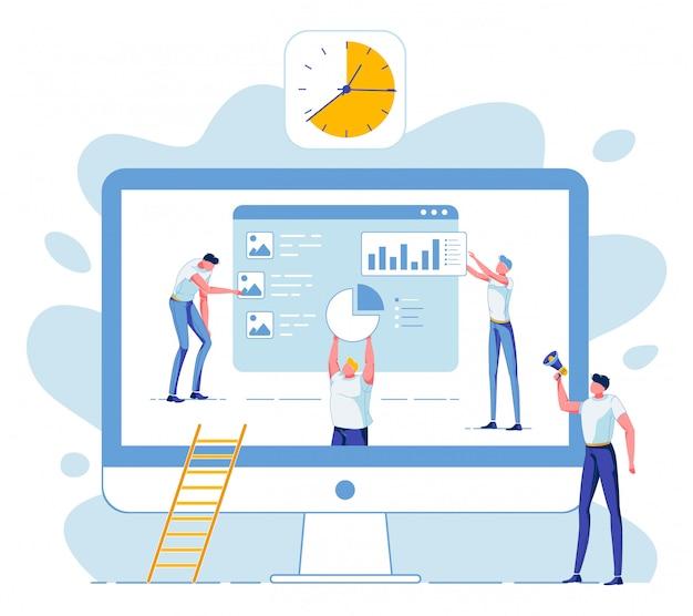Equipo de negocios, análisis estadístico de datos, fecha límite