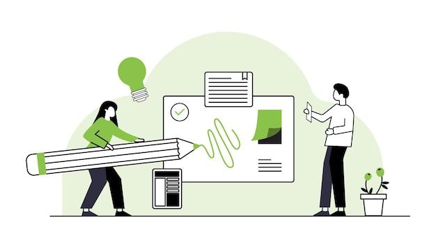 Equipo de negocios armando rompecabezas aislados socios de dibujos animados de ilustración vectorial plana