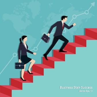 Equipo de negocios caminando por la escalera hasta la meta