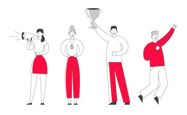 El equipo de negocios celebra la victoria, el empresario sonriente sostiene el soporte de la copa del ganador en el pedestal de ganadores.