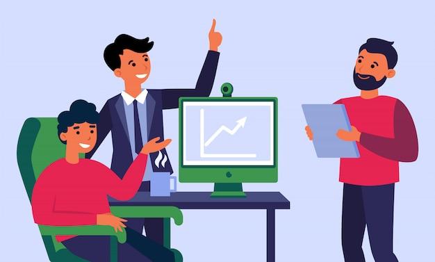 Equipo de negocios celebrando el crecimiento de los ingresos