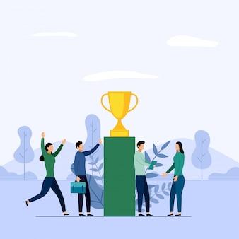 Equipo de negocios y competencia, logro, éxito, desafío, ilustración del concepto de negocio