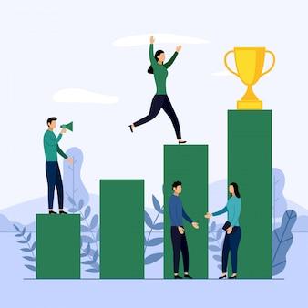 Equipo de negocios y competencia, logro, exitoso, desafío, negocios