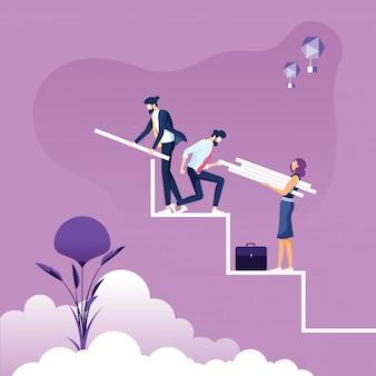 El equipo de negocios construye una escalera hacia el éxito: concepto de trabajo en equipo