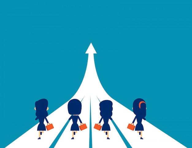 Equipo de negocios corriendo hacia el éxito