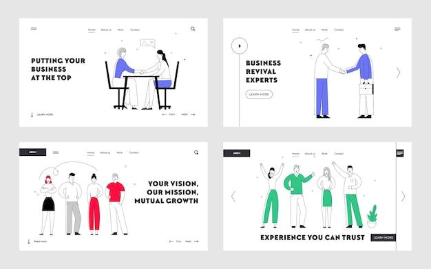 Equipo de negocios creativos y página de inicio del sitio web de acuerdo de asociación.
