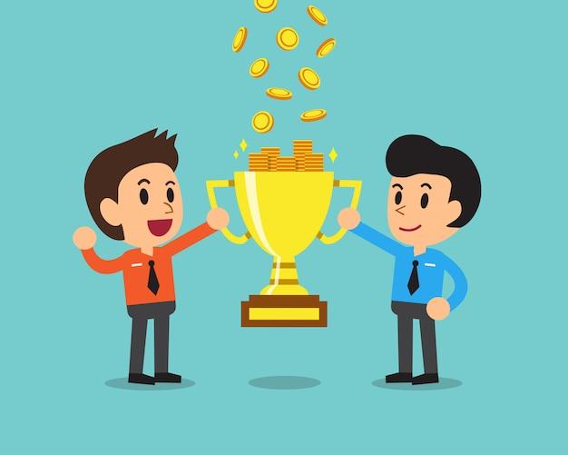 Equipo de negocios de dibujos animados ganando dinero con trofeo