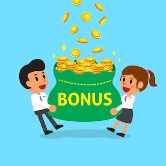 Equipo de negocios de dibujos animados con gran bolsa de dinero de bonificación